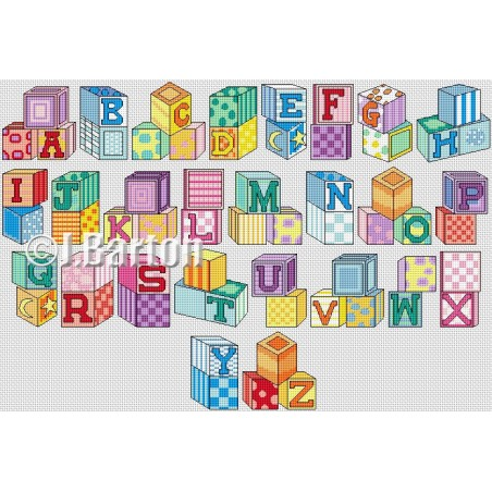 Building blocks alphabet (cross stitch chart download)