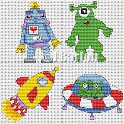 Kids space collection (cross stitch chart download)
