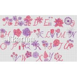 Floral alphabet cross stitch chart