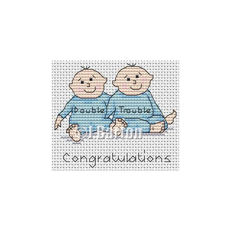 Twin boys cross stitch chart
