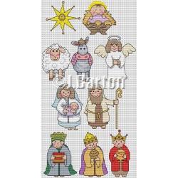 Nativity characters (cross stitch chart download)