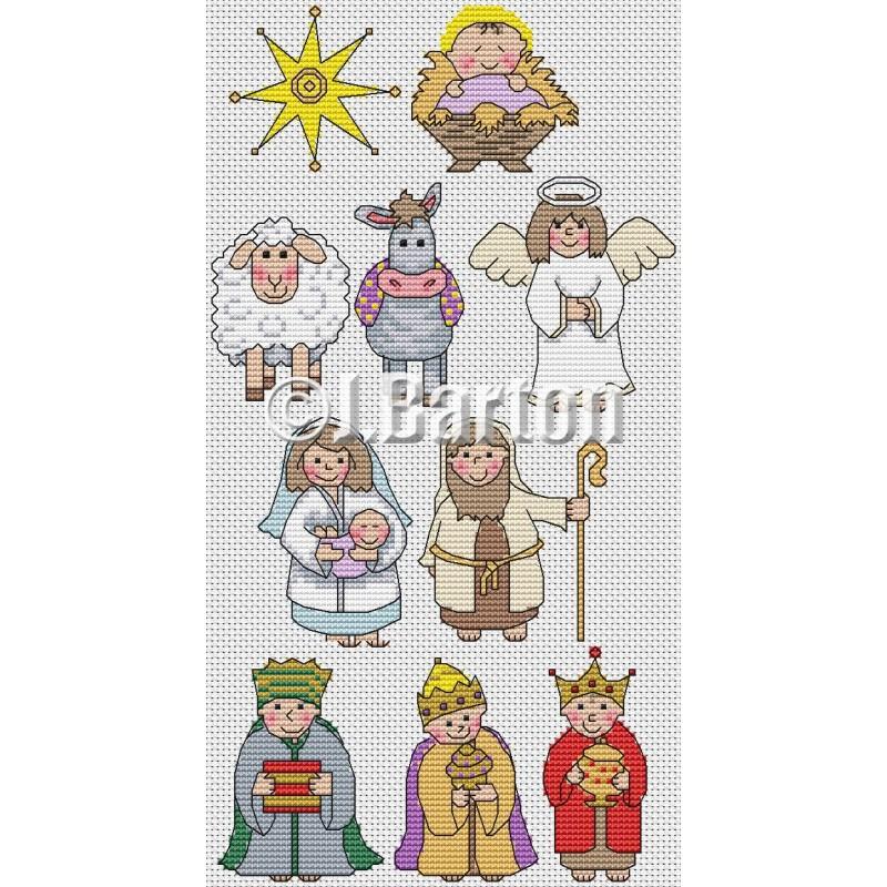 Nativity characters cross stitch chart