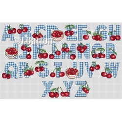 Cherries alphabet (cross stitch chart download)