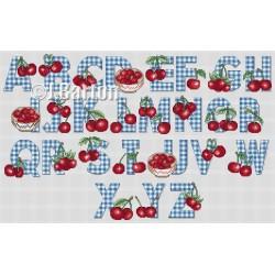 Cherries alphabet cross stitch chart
