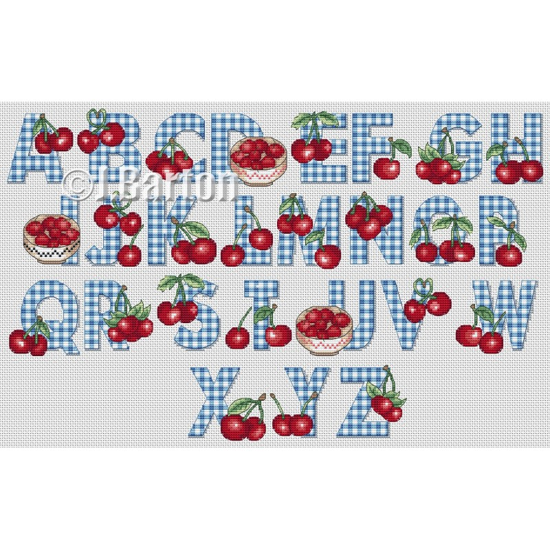 Cherries alphabet cross stitch chart