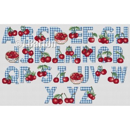 Cherries alphabet (cross stitch chart download)