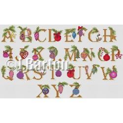 Baubles alphabet cross stitch chart