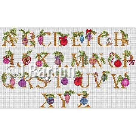 Baubles alphabet (cross stitch chart download)