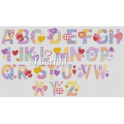 Love hearts alphabet (cross stitch chart download)