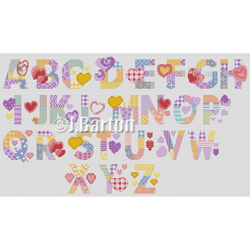 Love hearts alphabet cross stitch chart