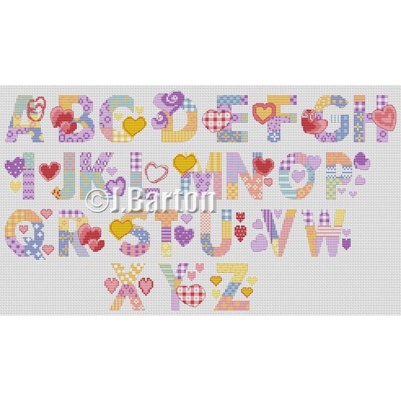 Love hearts alphabet cross stitch chart