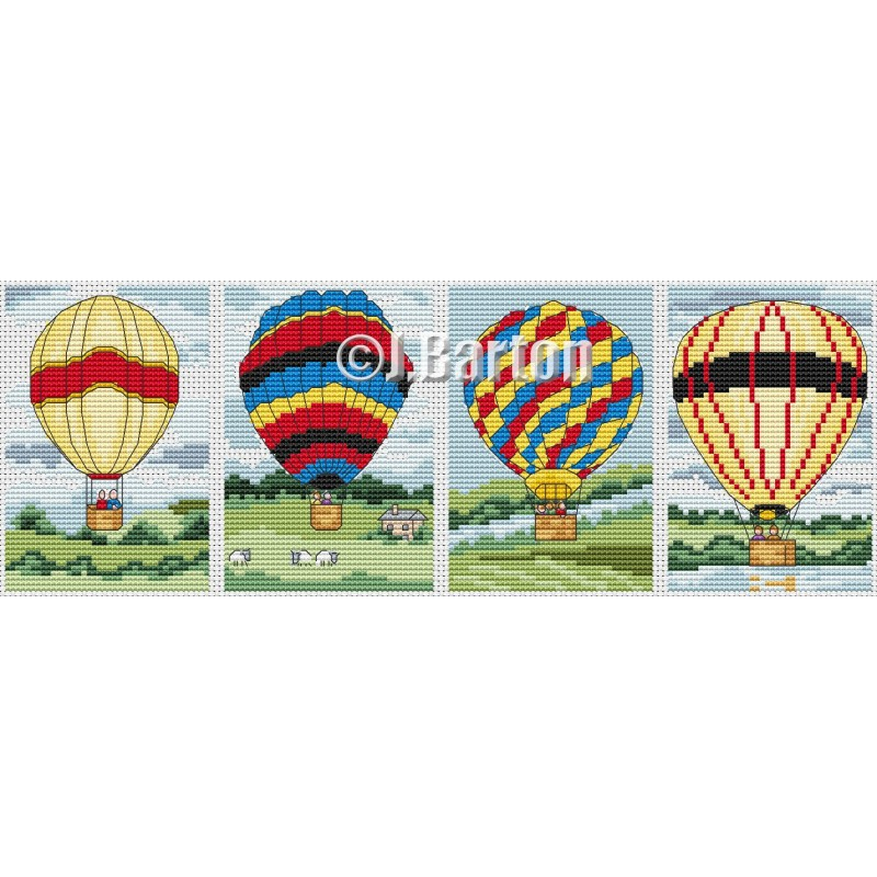 Hot air balloon collection (cross stitch chart download)