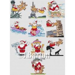 Santa around the world (cross stitch chart download)