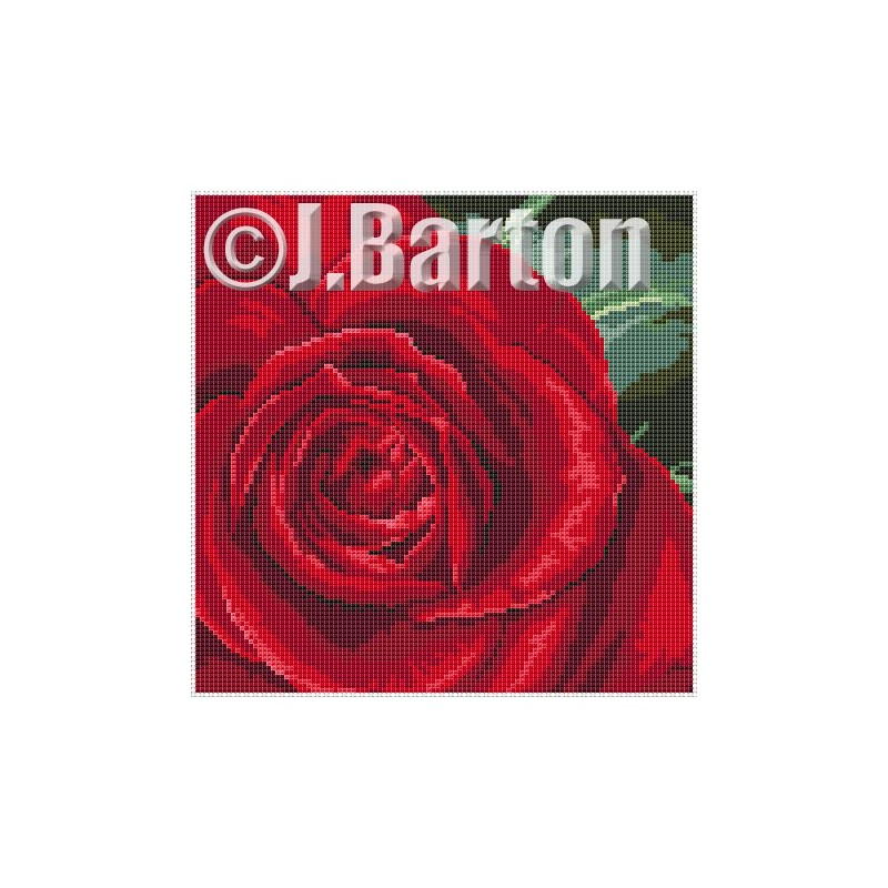 Single rose cross stitch chart