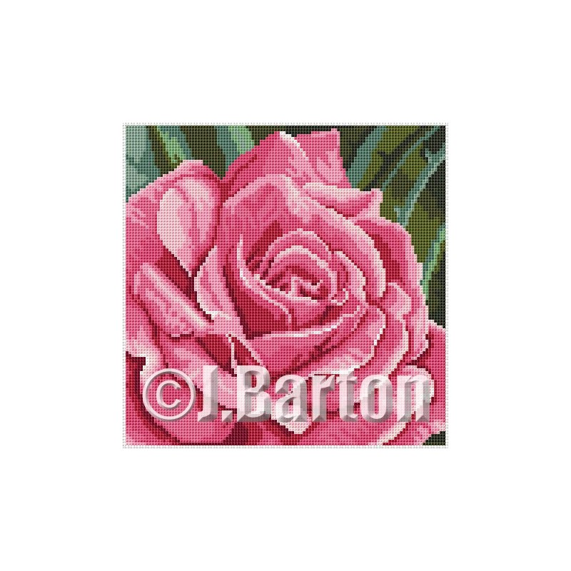 Pink rose cross stitch chart