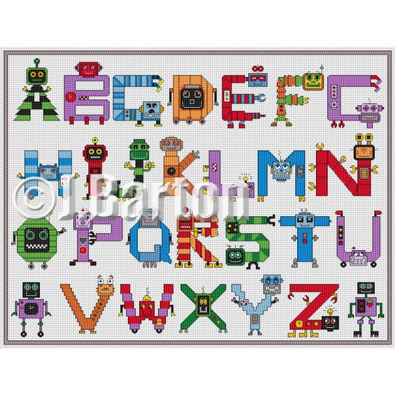 Robots alphabet cross stitch chart