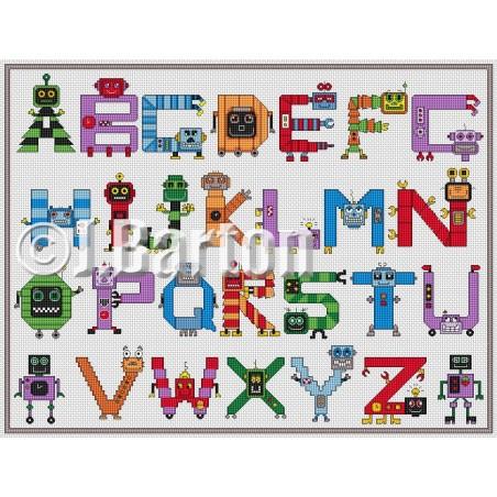 Robots alphabet (cross stitch chart by post)