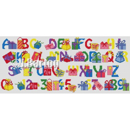 Gifts alphabet (cross stitch chart by post)