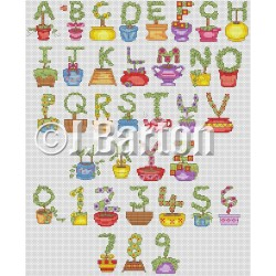 Topiary alphabet (cross stitch chart download)
