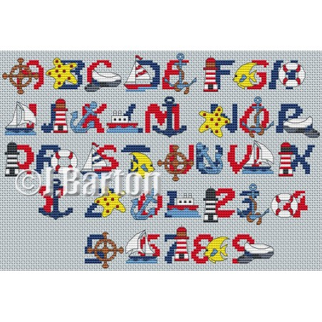 Nautical alphabet and numbers (cross stitch chart download)