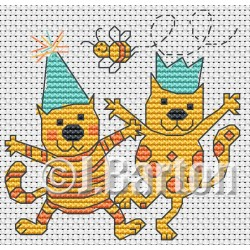 Party cats (cross stitch chart download)