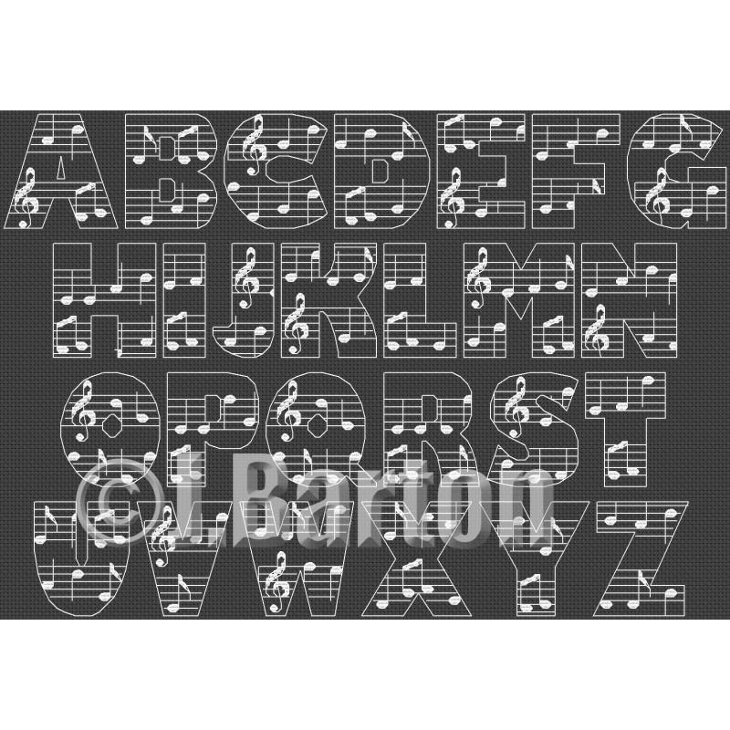 Musical alphabet (cross stitch chart download)
