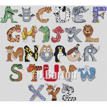 Animal alphabet (cross stitch chart download)
