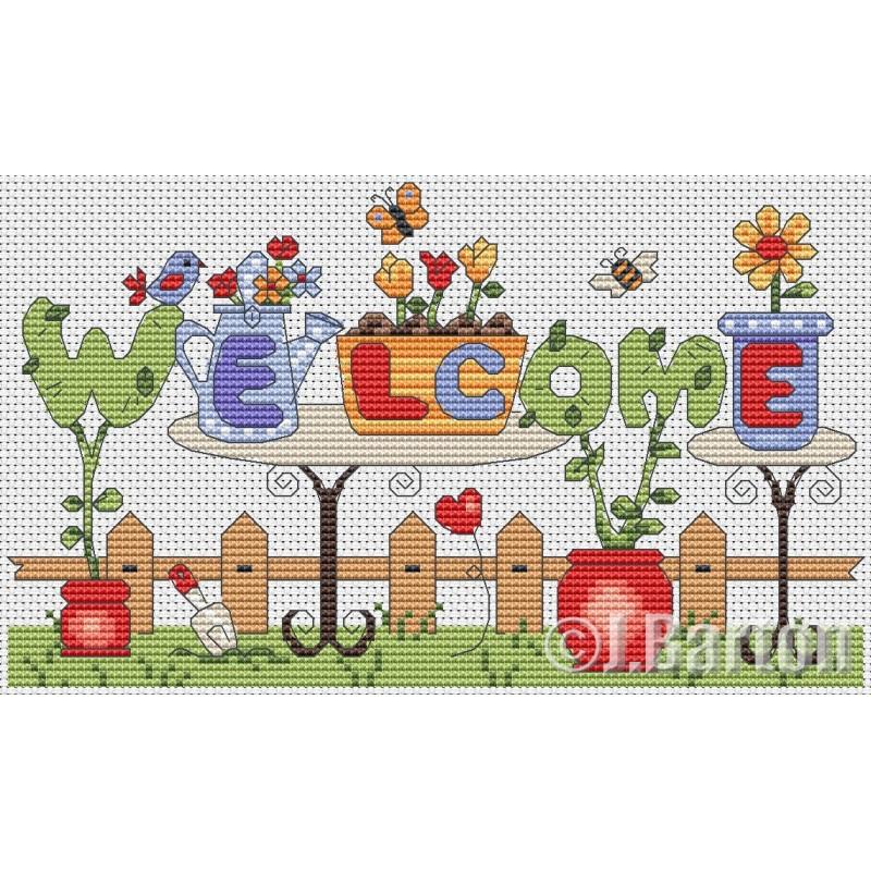 Garden welcome (cross stitch chart download)