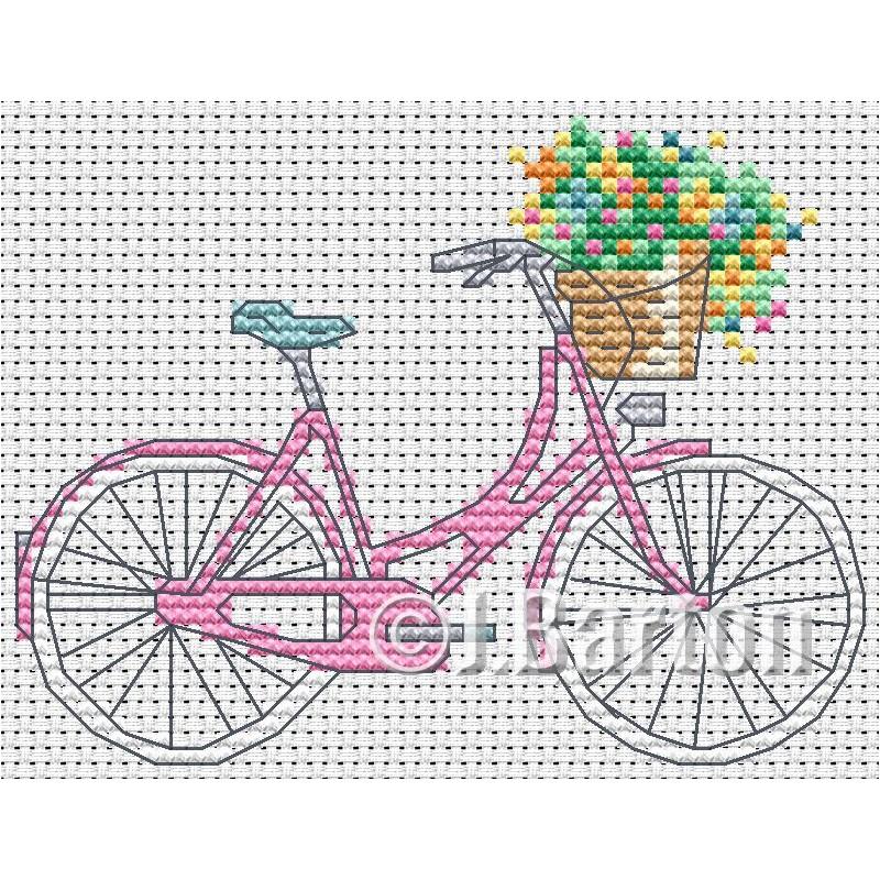 Ladies bike (cross stitch chart download)