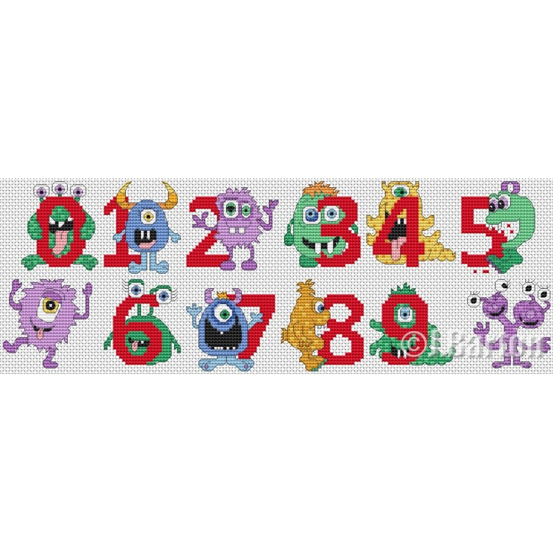 Monster and aliens numbers (cross stitch chart download)
