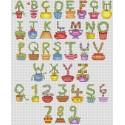 Topiary alphabet cross stitch chart