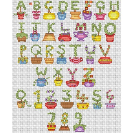Topiary alphabet (cross stitch chart by post)