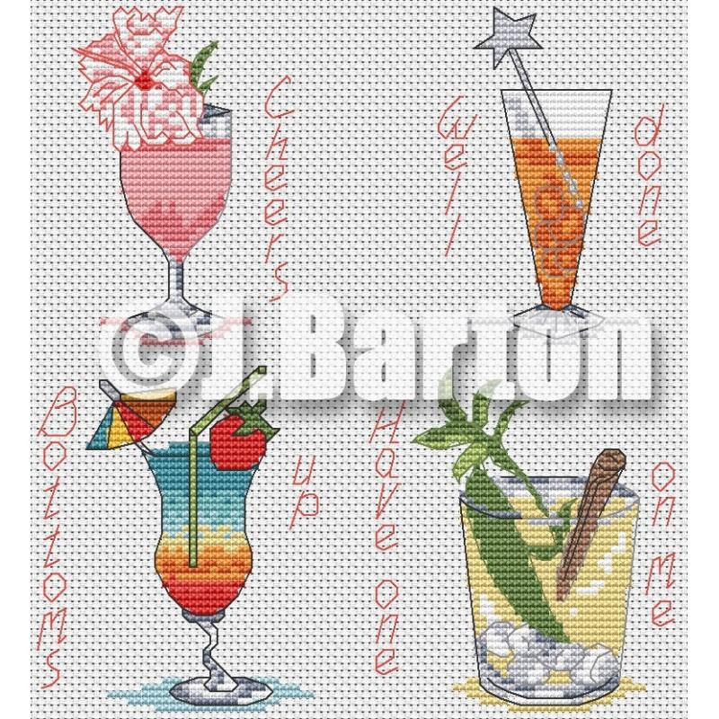 Cocktails (cross stitch chart download)