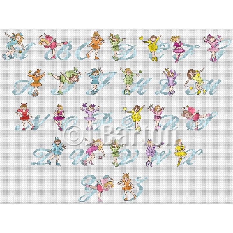 Skating fairies alphabet (cross stitch chart by post)
