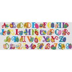 Easter eggs alphabet cross stitch chart