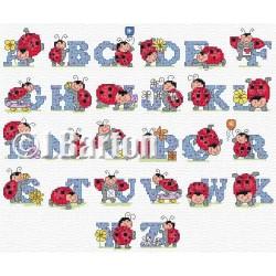 Ladybird alphabet (cross stitch chart download)