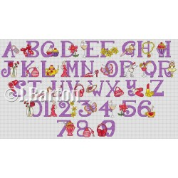Girly alphabet and numbers cross stitch chart