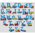 Cars and trains alphabet cross stitch chart