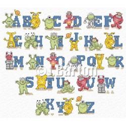 Alien alphabet cross stitch chart