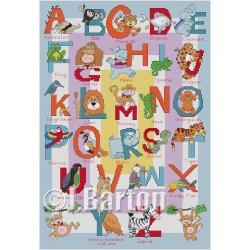 Jungle alphabet cross stitch chart