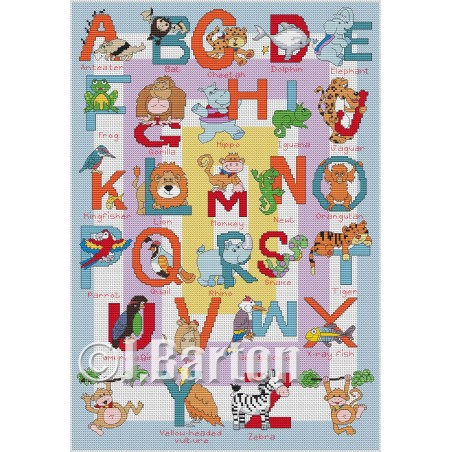 Jungle alphabet (cross stitch chart download)