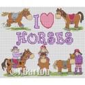 I love horses cross stitch chart