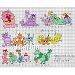 Monster greetings cross stitch chart