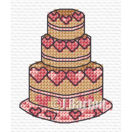Love heart cake (cross stitch chart download)