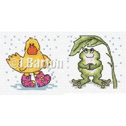 Duck and frog in the rain cross stich chart