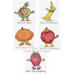 Funny fruits cross stitch chart