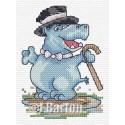Dancing hippo cross stitch chart