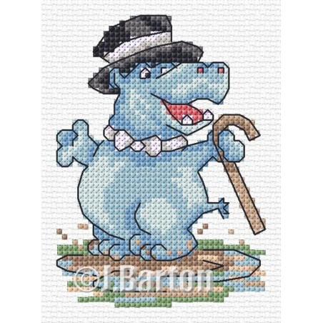 Dancing hippo (cross stitch chart download)