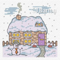 Cottage snow scene (cross stitch chart download)
