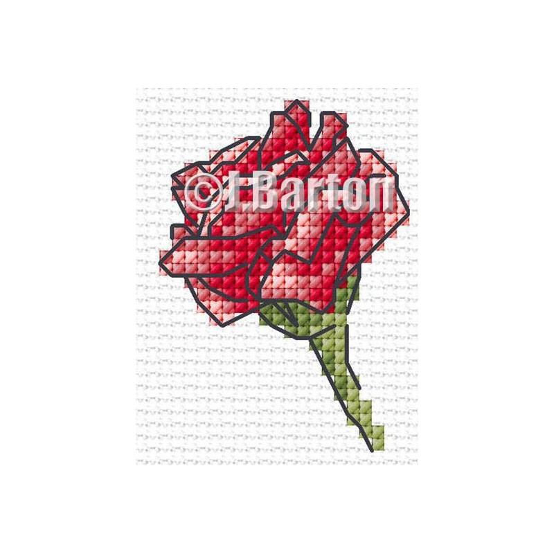 Single red rose cross stitch chart
